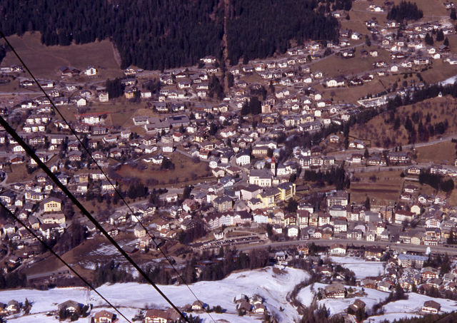 Ortisei from the Seiser Alm Tram