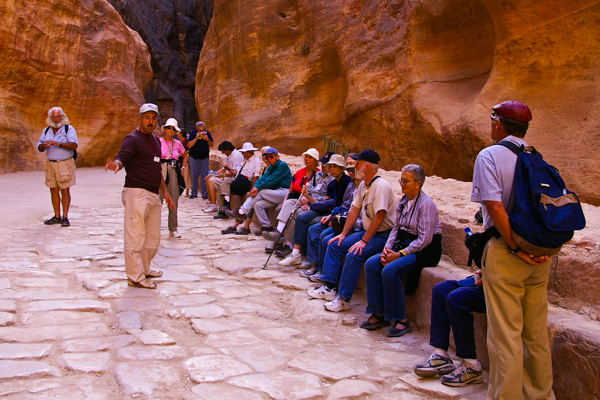 Elderhostel group in the siq