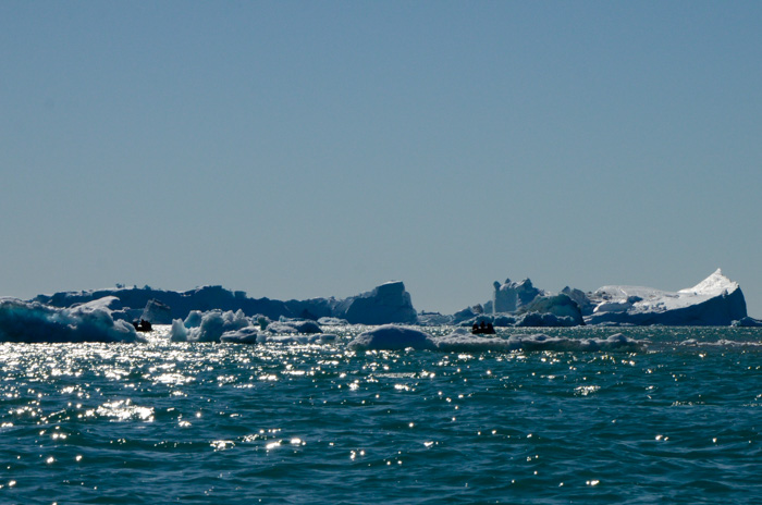 Zodiacs and icebergs